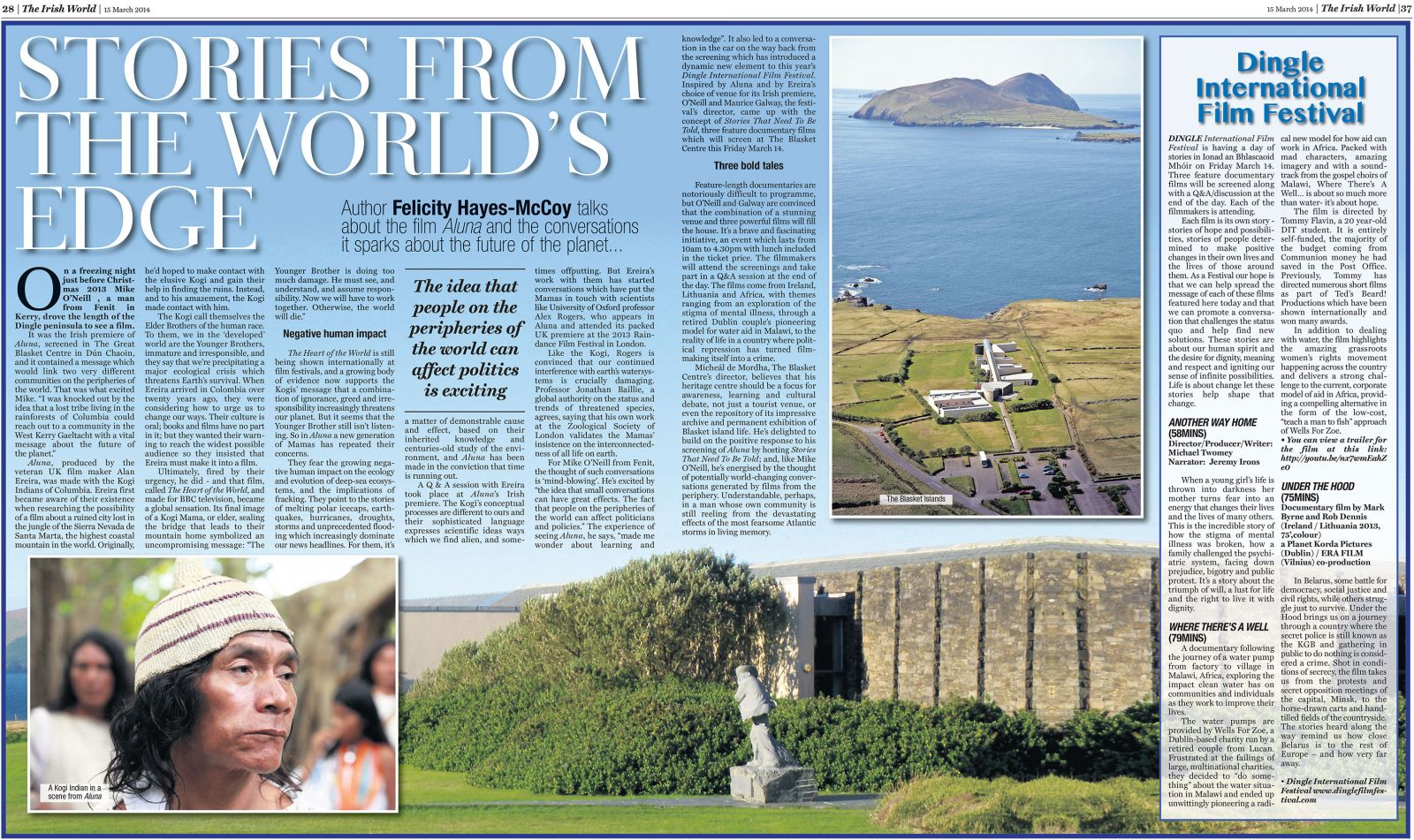 """Stories from the World's Edge"", The Irish World, 15 March 2014"